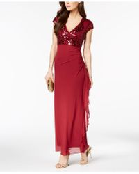 Betsy & Adam - Petite Embellished Surplice Ruched Gown - Lyst