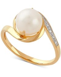 Macy's - Cultured Freshwater Pearl (8mm) & Diamond Accent Ring In 10k Gold - Lyst