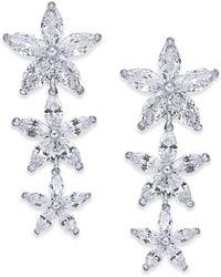 Joan Boyce - Silver-tone Crystal Flower Linear Drop Earrings - Lyst