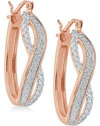 Macy's - Diamond Glitter Infinity Hoop Earrings (1/6 Ct. T.w.) In 18k Gold-plated Sterling Silver - Lyst
