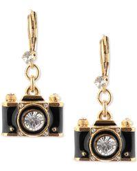 Betsey Johnson - Gold-tone Black Camera Crystal Drop Earrings - Lyst