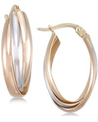Macy's - Tri-color Multi-ring Interlocked Hoop Earrings In 14k Yellow, White And Rose Gold - Lyst