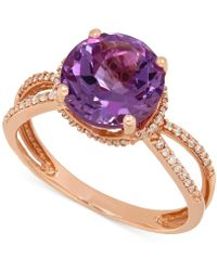 Macy's - Amethyst (2-1/2 Ct. T.w.) And Diamond (1/6 Ct. T.w.) Split Shank Ring In 14k Rose Gold - Lyst