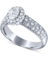 Macy's - Diamond Oval Twist Engagement Ring (1 Ct. T.w.) In 14k White Gold - Lyst
