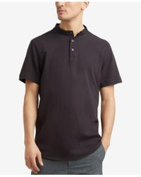 Kenneth Cole Reaction | Waffle-knit Band-collar Henley | Lyst