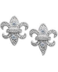 Giani Bernini - Cubic Zirconia Fleur-de-lis Stud Earring In Sterling Silver, Created For Macy's - Lyst