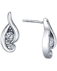 Proud Mom - Diamond Swirl Earrings (1/4 Ct. T.w.) In 14k White Gold - Lyst