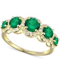 Macy's - Simulated Emerald And Cubic Zirconia Ring In 14k Gold-plated Sterling Silver - Lyst
