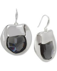 Robert Lee Morris - Silver-tone Purple Stone Sculptural Drop Earrings - Lyst