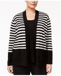 Anne Klein - Plus Size Striped Open Cardigan - Lyst