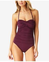 Anne Cole - Twist-front Bandeau One-piece Swimsuit - Lyst