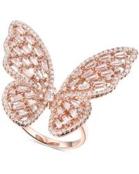 Macy's - Cubic Zirconia Butterfly Ring In 14k Rose Gold-plated Sterling Silver - Lyst