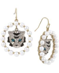 Betsey Johnson - Two-tone Imitation Pearl & Crystal Tiger Orb Earrings - Lyst