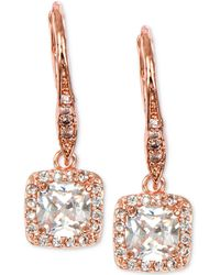 Anne Klein - Rose Gold-tone Square Crystal Drop Earrings - Lyst