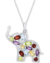"Macy's - Multi-gemstone Openwork Elephant 18"" Pendant Necklace (2-5/8 Ct. T.w.) In Sterling Silver - Lyst"