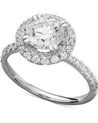 Arabella - 14k White Gold Ring, Swarovski Zirconia Round Pave Engagement Ring (3-1/2 Ct. T.w.) - Lyst