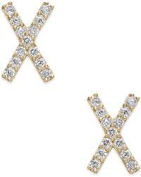Macy's - Cubic Zirconia Crisscross Stud Earrings In 10k Gold - Lyst