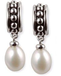 Macy's - Cultured Freshwater Pearl Hoop Earrings In Sterling Silver - Lyst