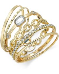 INC International Concepts - Gold-tone Crystal Enhanced Multi-bangle Bracelet - Lyst