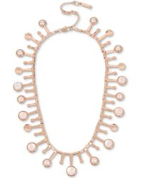 "Kenneth Cole - New York Rose Gold-tone Pink Stone & Imitation Pearl Collar Necklace, 15"" + 3"" Extender - Lyst"