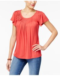 Style & Co. - Pleated-neck Top, Only At Macy's - Lyst