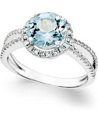 Macy's - Aquamarine (1-1/2 Ct. T.w.) And Diamond (1/3 Ct. T.w.) Split Shank Ring In 14k White Gold - Lyst