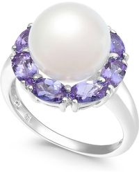 Macy's - Cultured White Freshwater Pearl (10mm) & Tanzanite (2 Ct. T.w.) Ring In Sterling Silver - Lyst