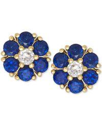 Macy's - Blue Sapphire (1-1/5 Ct. T.w.) And White Sapphire (1/6 Ct. T.w.) Flower Stud Earrings In 14k Gold - Lyst