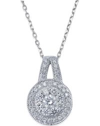 Macy's - Diamond Circle Pendant Necklace In 14k White Gold (1/2 Ct. T.w.) - Lyst