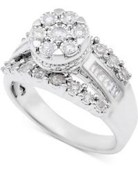 Macy's | Diamond Dome Cluster Promise Ring (1/2 Ct. T.w.) In Sterling Silver | Lyst