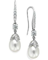 Arabella - Cultured Freshwater Pearl (8mm) And Swarovski Zirconia (1-5/8 Ct. T.w.) Leaf Drop Earrings In Sterling Silver - Lyst