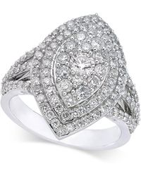 Macy's - Diamond Marquise-style Cluster Ring (1-5/8 Ct. T.w.) In 14k White Gold - Lyst