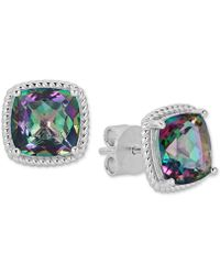 Macy's - Mystic Topaz Rope Frame Stud Earrings (8 Ct. T.w.) In Sterling Silver - Lyst