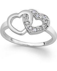 Macy's - Diamond Double Heart Ring In Sterling Silver (1/10 Ct. T.w.) - Lyst
