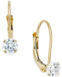 Macy's - Cubic Zirconia Leverback Drop Earrings (1/2 Ct. T.w.) In 10k Gold - Lyst
