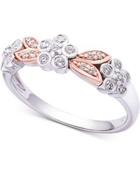 Wrapped in Love - Tm Diamond Two-tone Flower Ring (1/4 Ct. T.w.) In 14k White & Rose Gold, Created For Macy's - Lyst