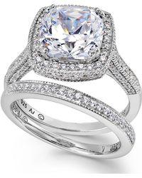 Arabella - Sterling Silver Ring Set, Swarovski Zirconia Bridal Ring And Band Set (7-5/8 Ct. T.w.) - Lyst