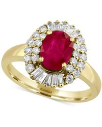 Effy Collection - Certified Ruby (1-3/8 Ct. T.w.) And Diamond (1/2 Ct. T.w.) Statement Ring In 14k Gold - Lyst