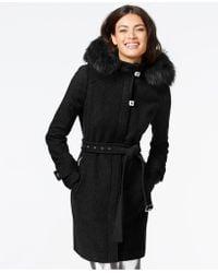 Calvin Klein - Faux-fur-trim Belted Walker Coat - Lyst