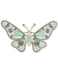 Anne Klein - Gold-tone Pavé & Stone Butterfly Pin, Created For Macy's - Lyst