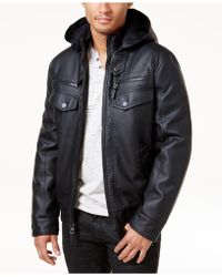 INC International Concepts - Men's Faux Leather Hooded Bomber Jacket - Lyst