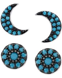 Macy's - 2-pc. Set Manufactured Turquoise Moon Stud Earrings Set In Sterling Silver - Lyst