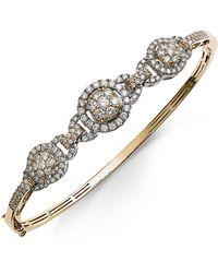 Macy's - Diamond Pavé Bangle Bracelet (2 Ct. T.w.) In 14k Gold And White Gold - Lyst