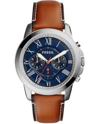 Fossil - Men's Chronograph Grant Light Brown Leather Strap Watch 44mm Fs5210 - Lyst