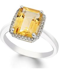 Macy's - Citrine (2-2/3 Ct. T.w.) And Diamond (1/10 Ct. T.w.) Ring In 14k White Gold - Lyst