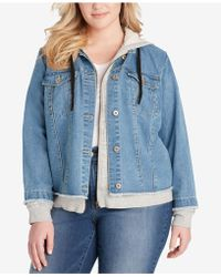 Jessica Simpson - Trendy Plus Size Denim Hoodie Jacket - Lyst