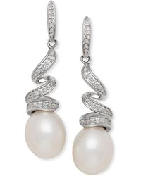 Macy's - Cultured Freshwater Pearl (8mm) & Diamond (1/8 Ct. T.w.) Swirl Drop Earrings In Sterling Silver - Lyst