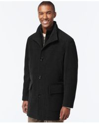 Cole Haan - Wool-blend Knit-collar Overcoat - Lyst