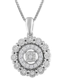 Macy's - Diamond Round Halo Pendant Necklace (1/5 Ct. T.w.) In Sterling Silver - Lyst