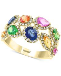 Effy Collection Effy® Multi-sapphire (2 Ct. T.w.) And Diamond (3/8 Ct. T.w.) Ring In 14k Gold - Metallic